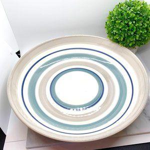 Crate & Barrel Blue Gray & White Serving Bowl Dish